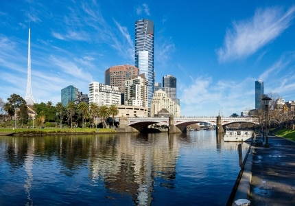 La Yarra River dans le southbank à Melbourne